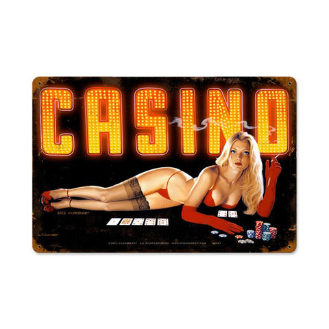 Red Light Casino Metal Sign Wall Decor 18 x 12