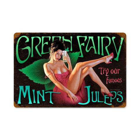 Green Fairy Metal Sign Wall Decor 18 x 12