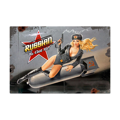 Russian Nose Art Metal Sign Wall Decor 36 x 24