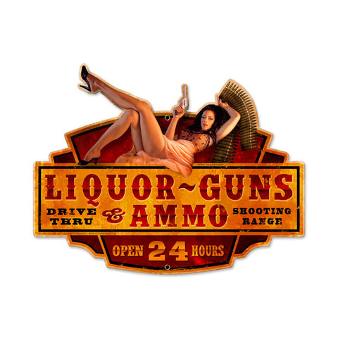 Liquor Guns Ammo Metal Sign Wall Decor 20 x 16