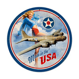 USA B17 Metal Sign Wall Decor 14 x 14