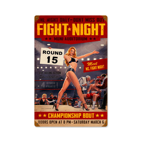 Fight Night Metal Sign Wall Decor 12 x 18