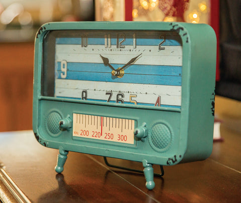 Retro Radiio Table Clock Blue