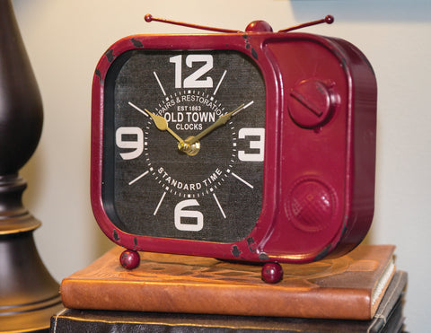 Retro Tv Table Clock Red