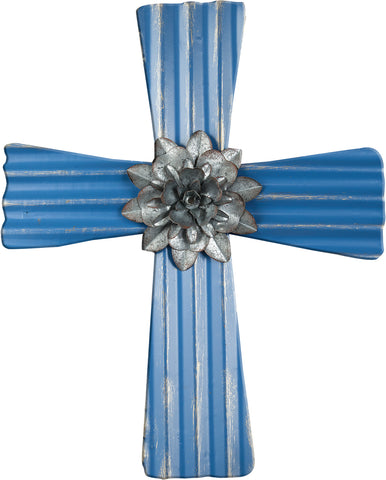 Metal Corrugated Wall Cross Blue