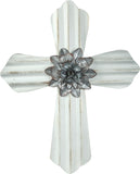 Metal Corrugated Wall Cross Cream