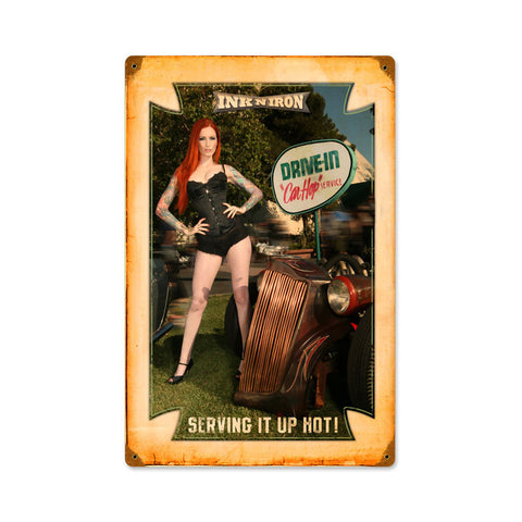 Drive In Car Hop Metal Sign Wall Decor 12 x 18