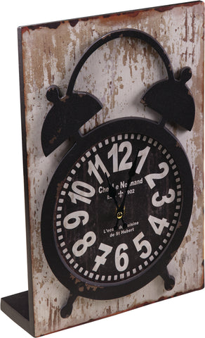 Wood Table Clock Cream