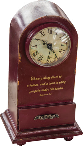 To Everything A Purpose Table Clock Red
