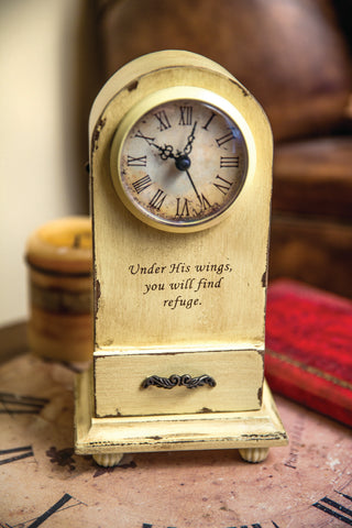 Under His Wings Table Clock Cream