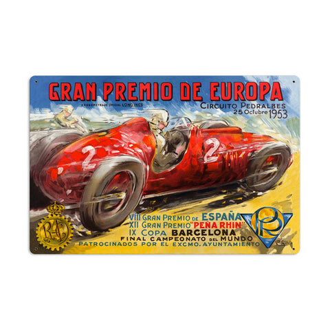 Gran Premio Europa Metal Sign Wall Decor 24 x 16