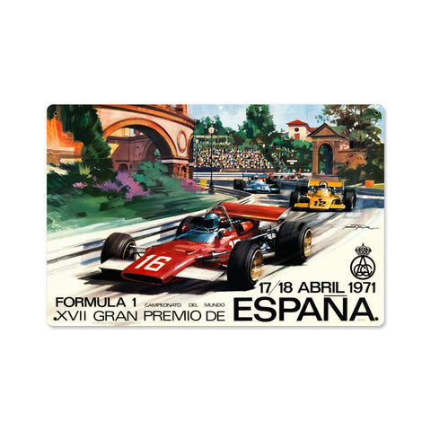 Spanish Formula One Metal Sign Wall Decor 18 x 12