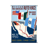 Mexico Auto Races Metal Sign Wall Decor 25 x 36