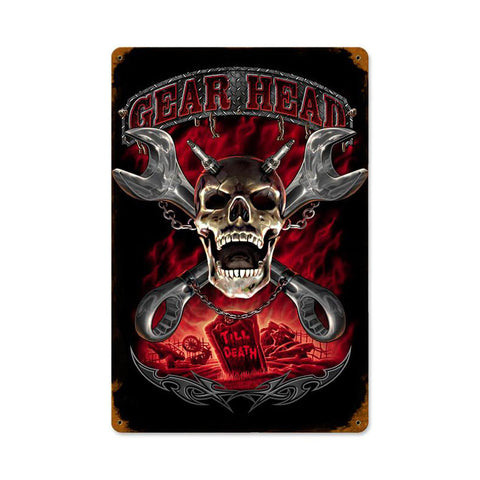 Gearhead Metal Sign Wall Decor 12 x 18
