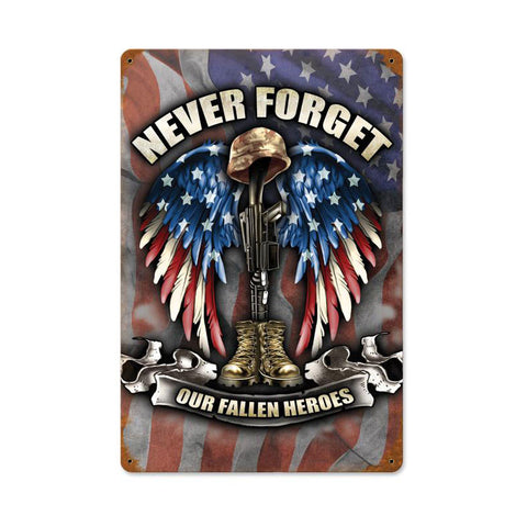 Fallen Heroes Metal Sign Wall Decor 12 x 18