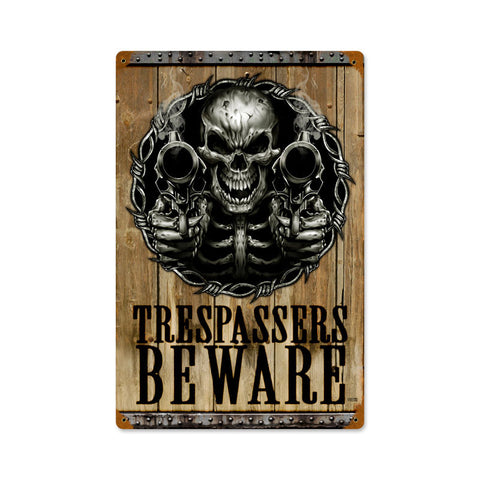 Trespassers Beware Metal Sign Wall Decor 12 x 18