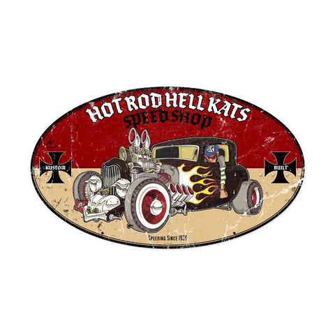 Hot Rod Hell Kats Metal Sign Wall Decor 24 x 14