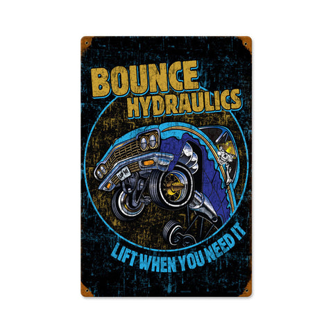 Bounce Hydraulics Metal Sign Wall Decor 12 x 18