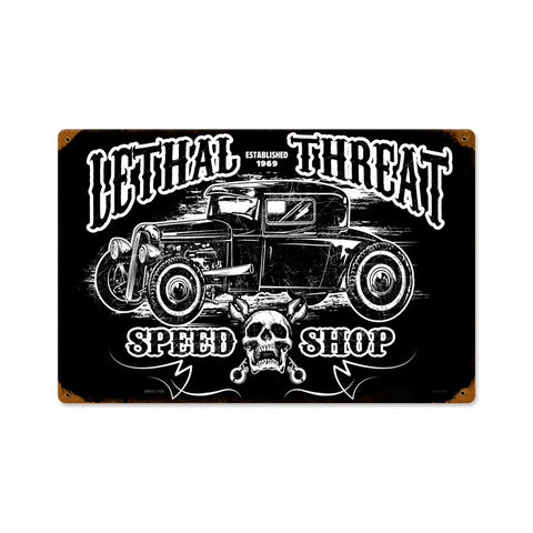 Hot Rod Speedshop Metal Sign Wall Decor 18 x 12