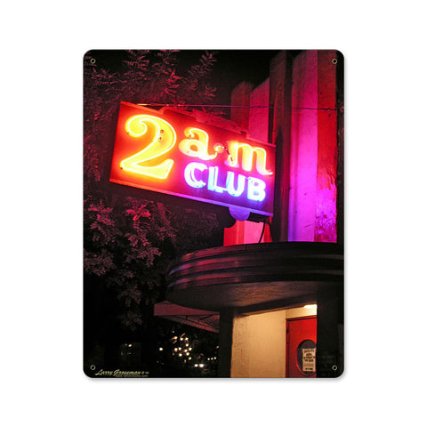 2 AM Club Metal Sign Wall Decor 12 x 15
