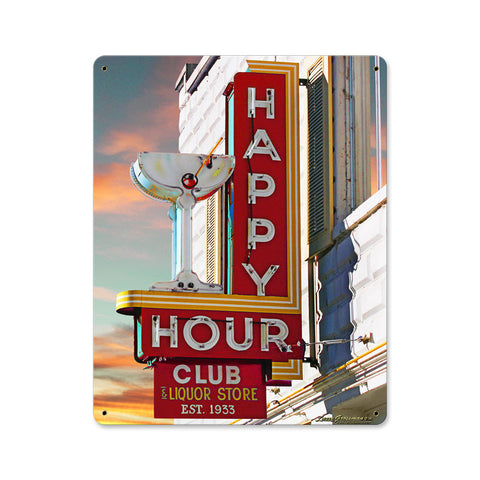 Happy Hour Club Metal Sign Wall Decor 12 x 15