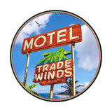 Trade Winds Motel Round Metal Sign Wall Decor 14 x 14