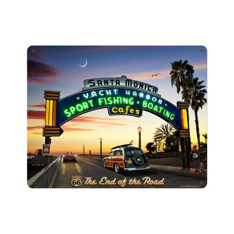 Santa Monica Pier Metal Sign Wall Decor 12 x 15