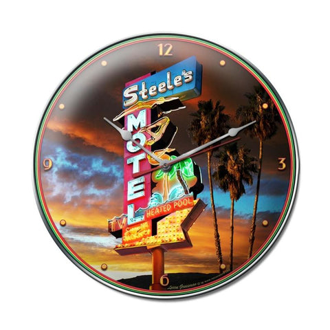 Steel's Motel Clock Metal Sign Wall Decor 14 x 14