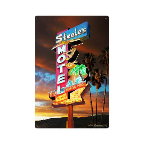 Steel's Motel Sign Metal Sign Wall Decor 12 x 18