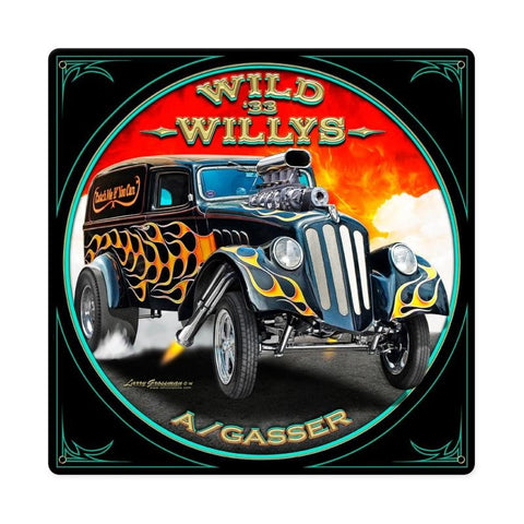 Wild Willys Metal Sign Wall Decor 12 x 12