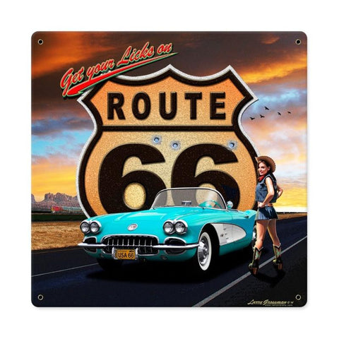 Route 66 Girl Metal Sign Wall Decor 12 x 12