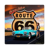 Route 66 Girl Metal Sign Wall Decor 18 x 18