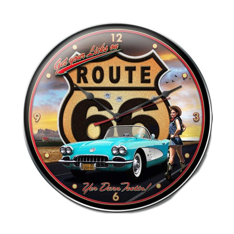 Route 66 Girl Clock Metal Sign Wall Decor 14 x 14