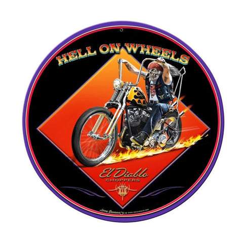 Hell On Wheels Metal Sign Wall Decor 28 x 28
