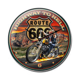 Highway to Hell Clock Metal Sign Wall Decor 14 x 14