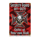 Security Off Duty Metal Sign Wall Decor 12 x 18