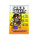 Shop Rules Metal Sign Wall Decor 12 x 18