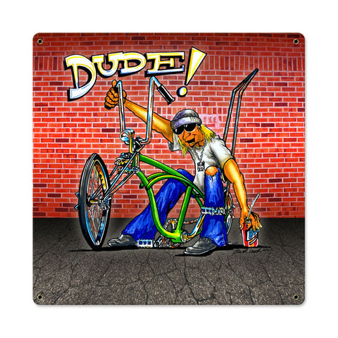 Dude Bike Metal Sign Wall Decor 18 x 18