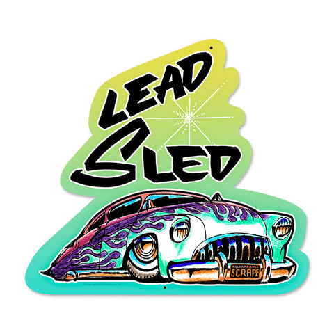 Lead Sled Metal Sign Wall Decor 17 x 18