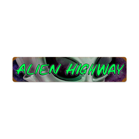 Alien Hwy Metal Sign Wall Decor 28 x 6