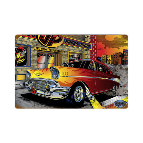 Chevy Speed Shop Metal Sign Wall Decor 18 x 12