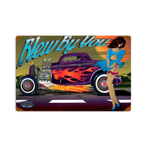 Rat Rod Blew By You Metal Sign Wall Decor 18 x 12
