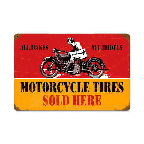 Motorcycle Tires Metal Sign Wall Decor 18 x 12