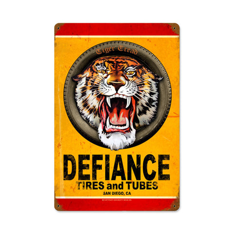 Defiance Tires Metal Sign Wall Decor 12 x 18