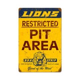 Lions Pit Area Metal Sign Wall Decor 12 x 18