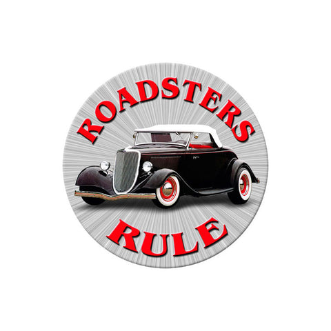 Roadsters Rule Metal Sign Wall Decor 14 x 14