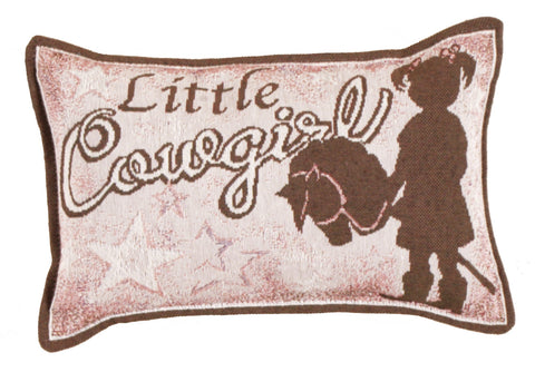 Little Cowgirl Small Tapestry Pillow