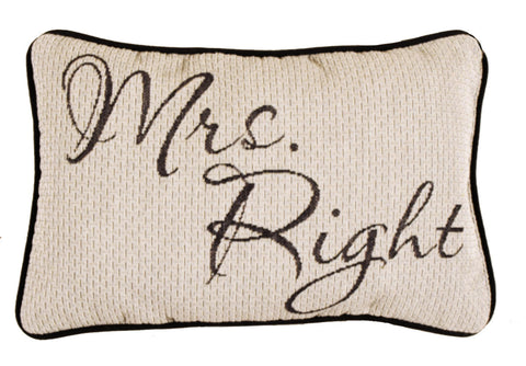 Mr & Mrs Right 9 X 12 Tapestry Pillow (Set)