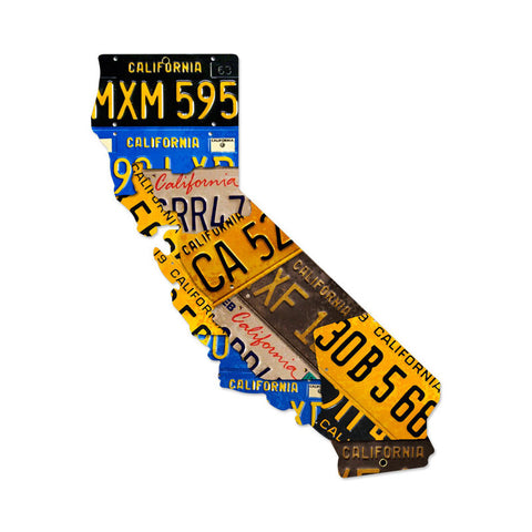 California License Plates Metal Sign Wall Decor 24 x 28