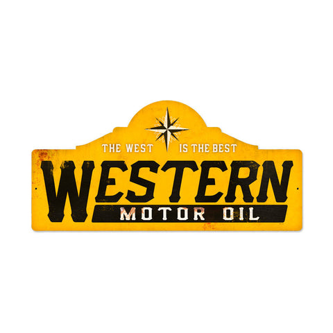 Western Motor Oil Metal Sign Wall Decor 26 x 12